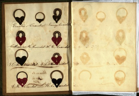 "The placement of the hair locks resembles a family tree, with Ann's father and mother at the top and her siblings below. Note the ""ghost"" images--remnants from the oils in the hair--on the opposite page."