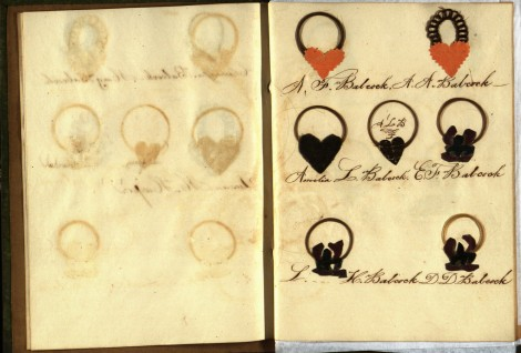 At top right is Ann's hair; to the left is hair belonging to her husband Albert Franklin. Their children's hair is below.