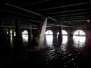 View of the spillway beneath the Rundel building.