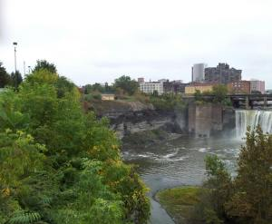 "Falls Field was located just to the left of High Falls in this picture, where the infamous Littles murder took place in 1857 (see August blog, ""Murder and Mayhem at Falls Field!"")."
