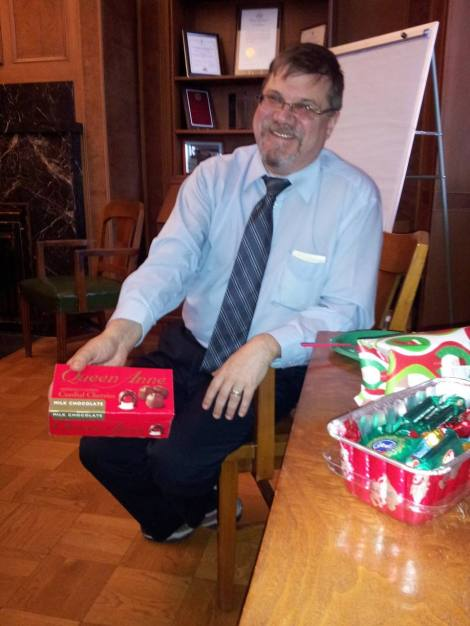 Bob Scheffel shows off a gift from one of our favorite patrons.