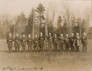 A group portrait of the 108th Infantry Regiment of New York, taken at Seneca Park during an Arbor Day tree planting ceremony. From the collection of the Rochester Public Library Local History Division.