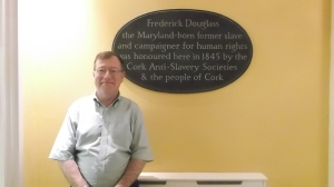 EE Tim Madigan with Plaque Honoring Douglass in Cork