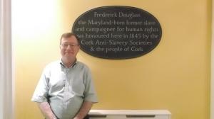 EE Tim Madigan with Plaque Honoring Douglass in Cork